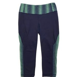 Athleta Navy and Green Crop Capri Leggings Medium